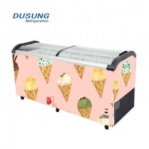 Ice cream curved glass double door chest freezer