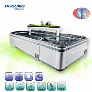 Manufacture Wholesale Auto Defrost Sliding Glass Door 560L 6.1Ff Supermarket Island Aht Freezer With CE License